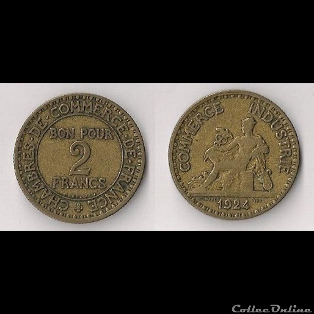2 francs chambres de commerce 1924 monnaies france for Chambre de commerce de france bon pour 2 francs 1923
