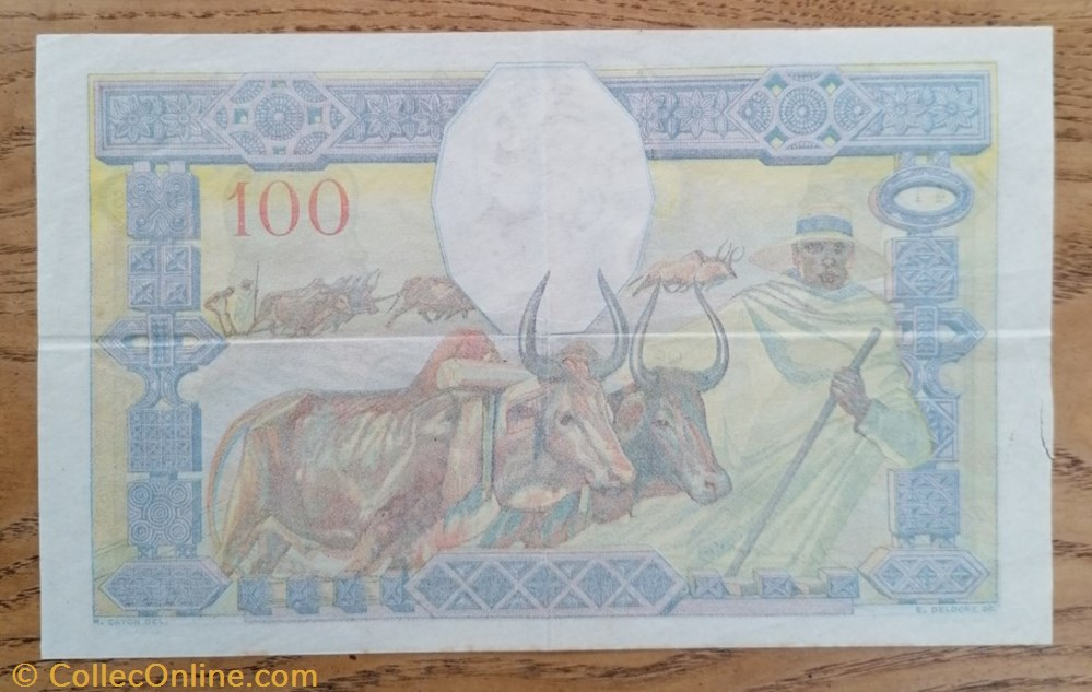 billet afrique madagascar 100 francs nd 1937 p 40a 2
