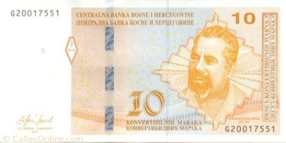 banknote europe bosnium and herzegovina 10 convertible maraka