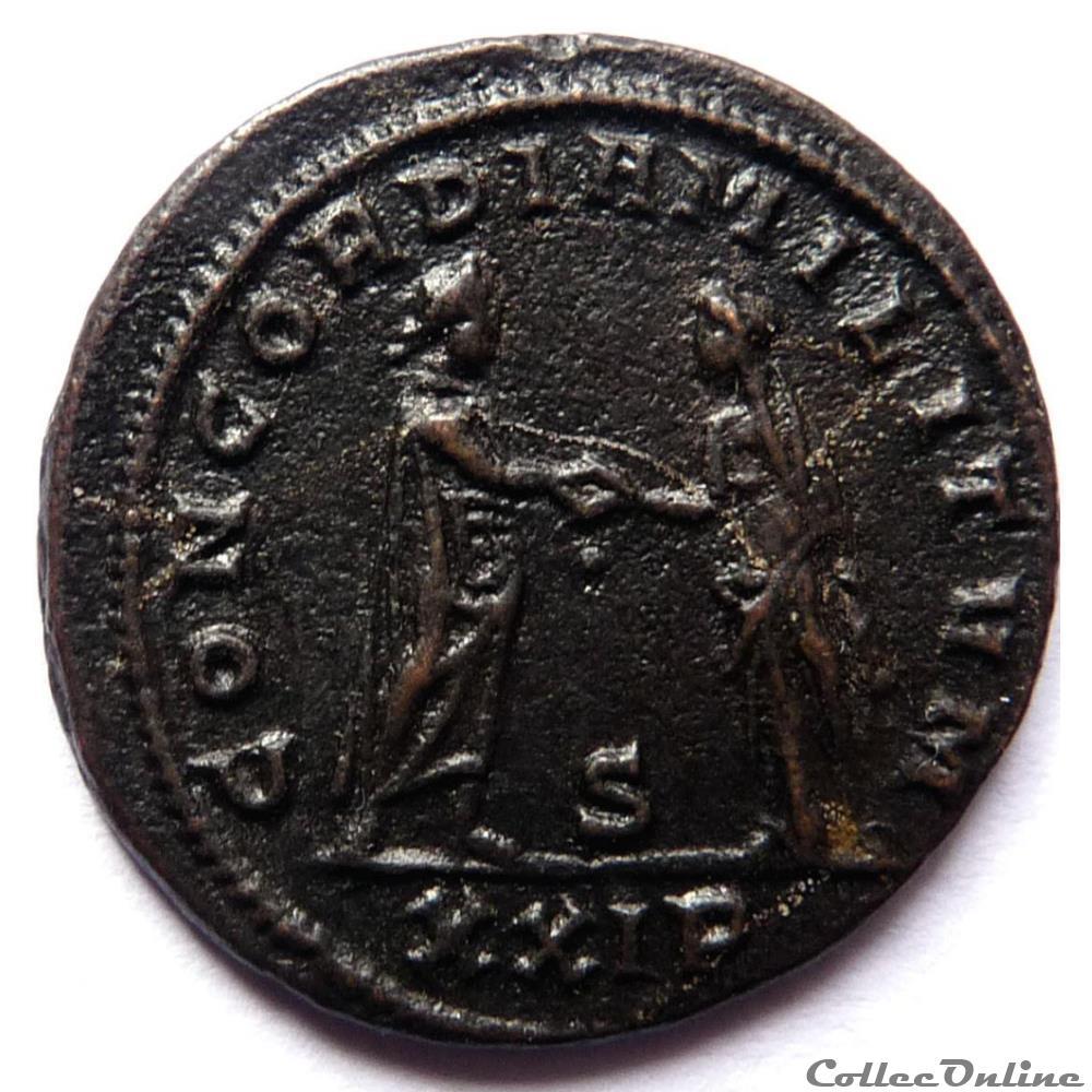 monnaie antique av jc ap romaine aurelien 274 siscia concordia militvm