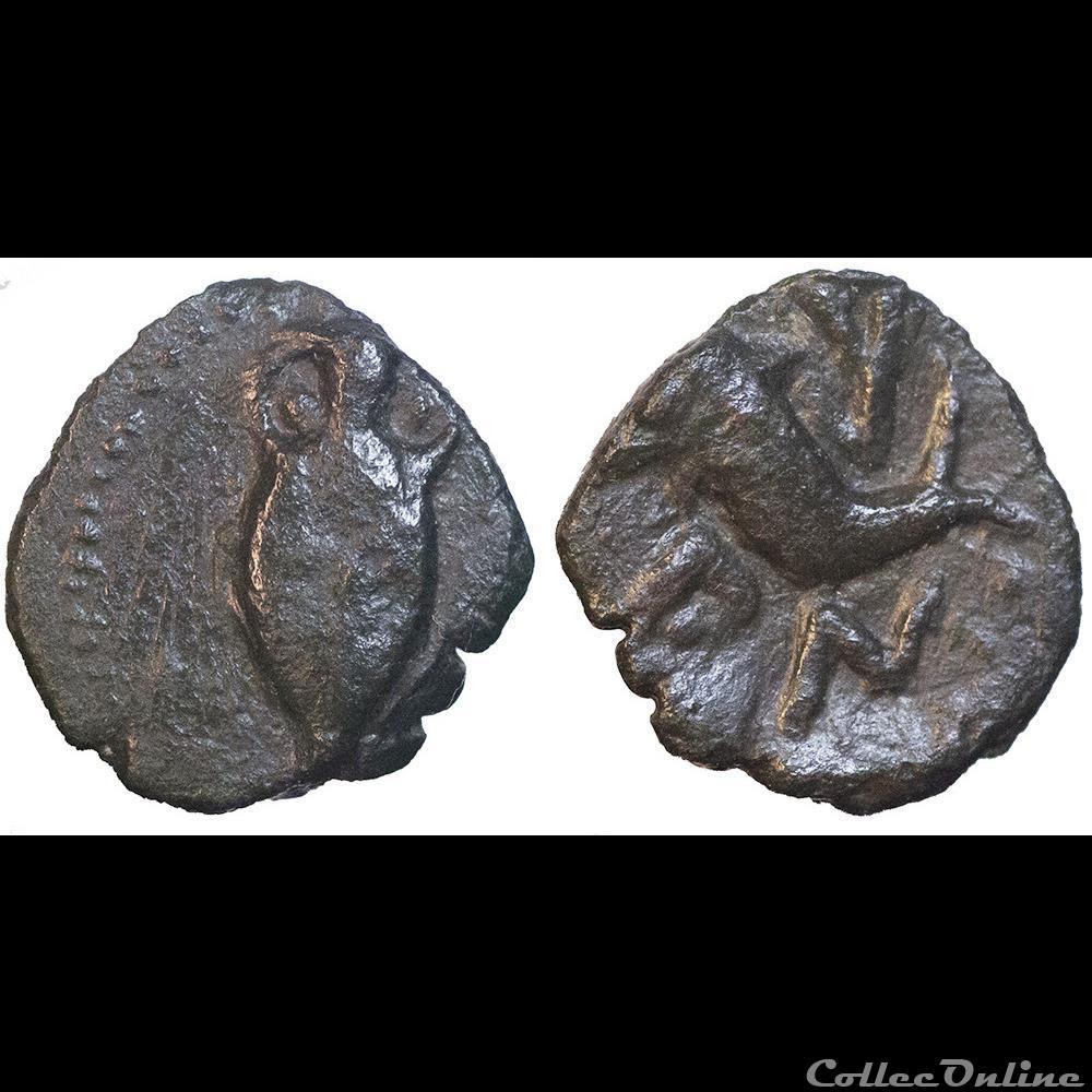 monnaie antique av jc ap gauloise neronken bronze a amphore et au dauphin