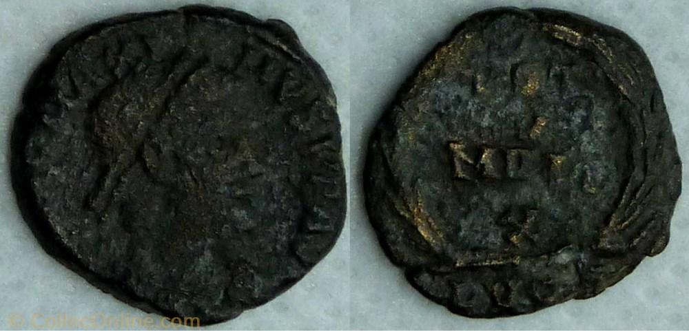 monnaie antique av jc ap romaine ric 35 magnus maximus ae4 vot v mvlt x