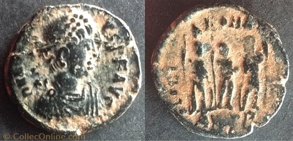 monnaie antique av jc ap romaine ric 153 honorius ae3 4 gloria romanorvm