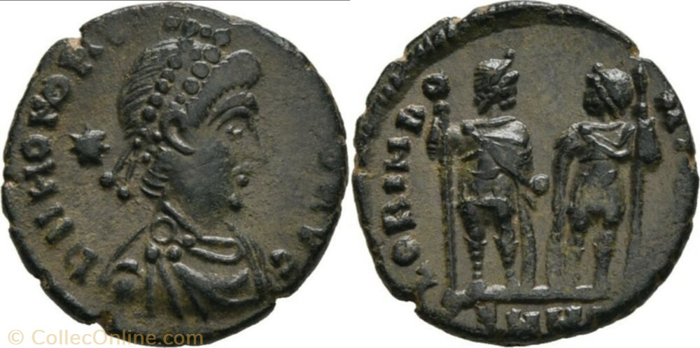 monnaie antique av jc ap romaine ric 397 honorius ae3 4 gloria romanorvm