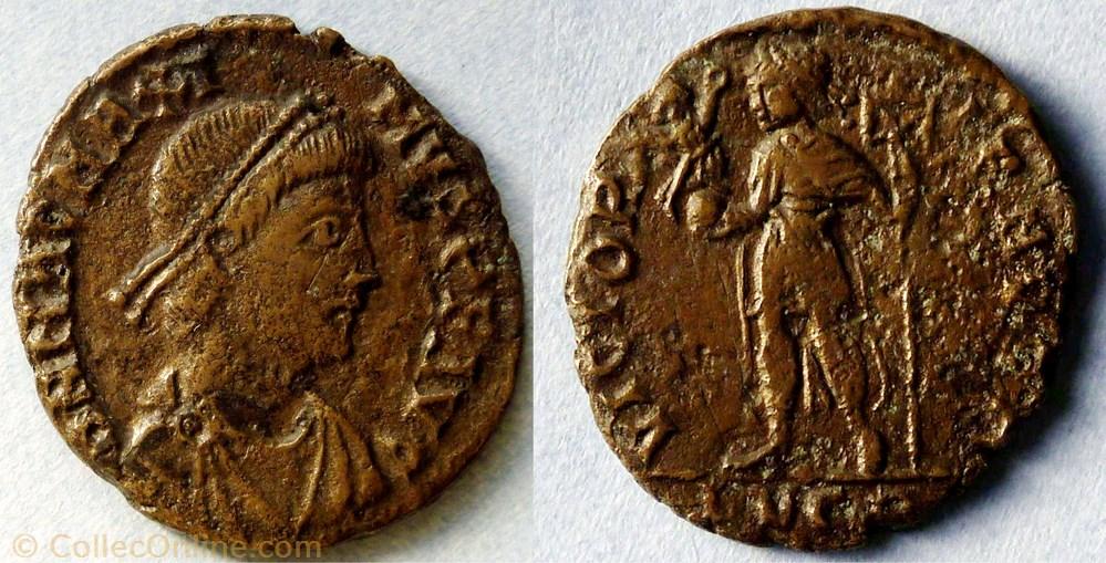 monnaie antique jc ap romaine imperiale ric 33 magnus maximus ae2 victoria avgg