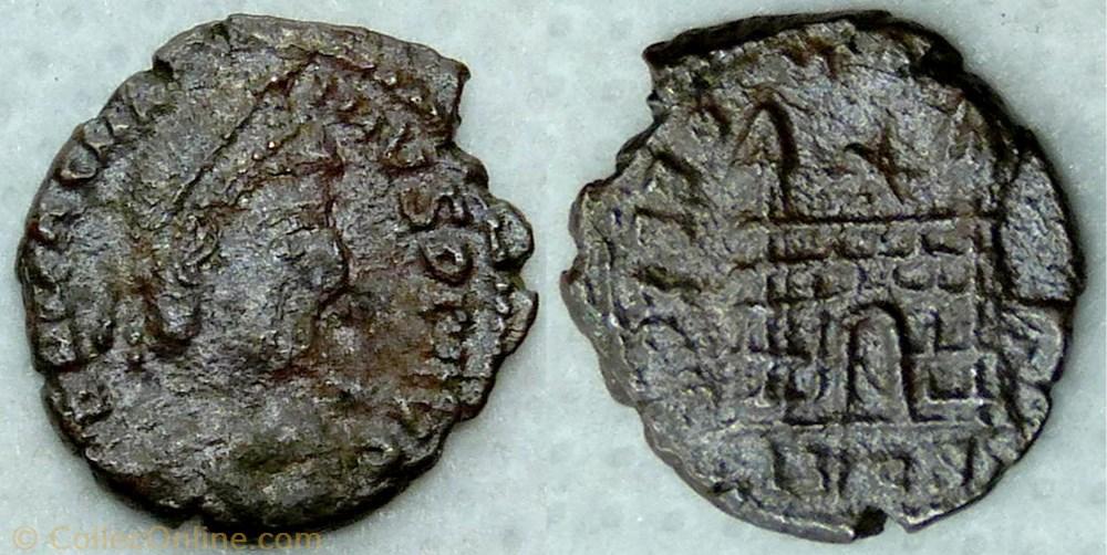 monnaie antique av jc ap romaine ric 36a magnus maximus ae4 spes romanorvm lyon