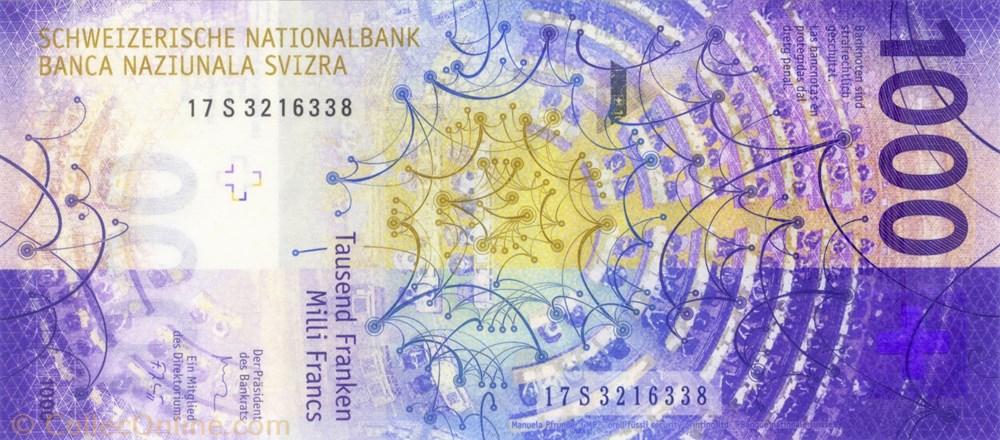 europe billet de 1000 francs suisse