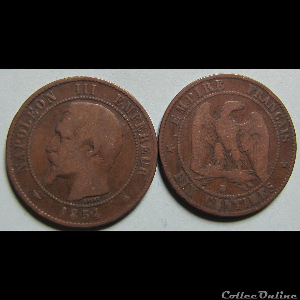 10 Centimes Napoleon Iii Tête Nue 1854 Münzen Französische