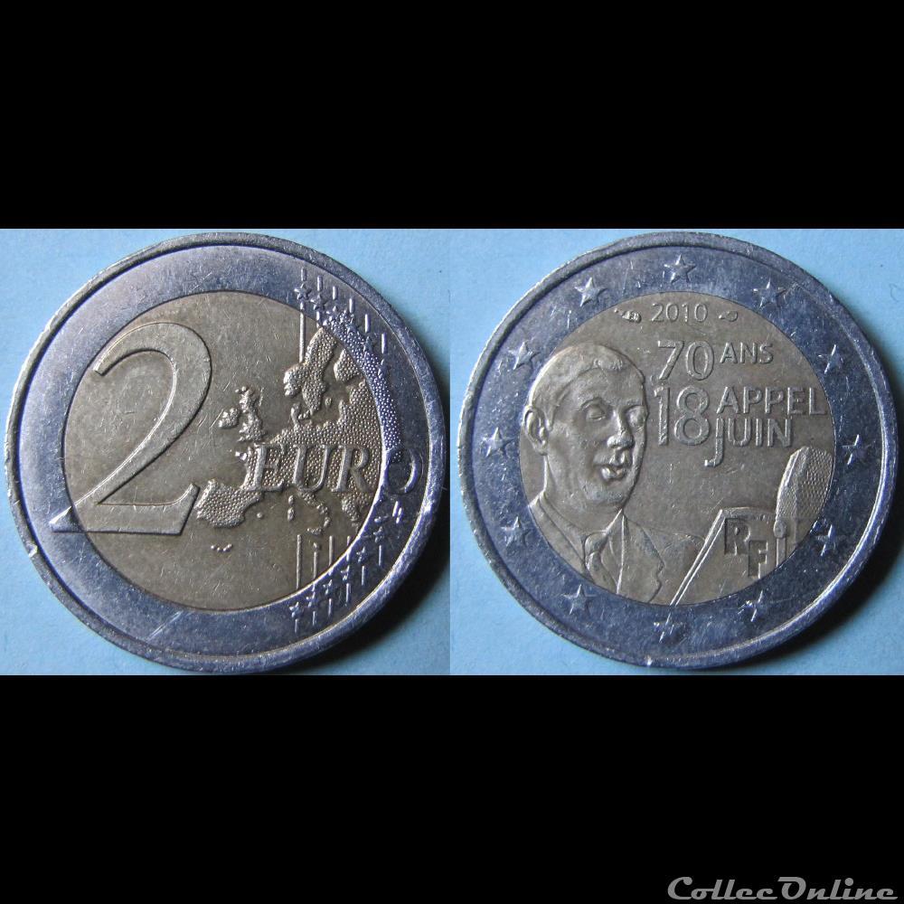 2 Euros Appel Du 18 Juin 1940 2010 Münzen Euros Frankreich