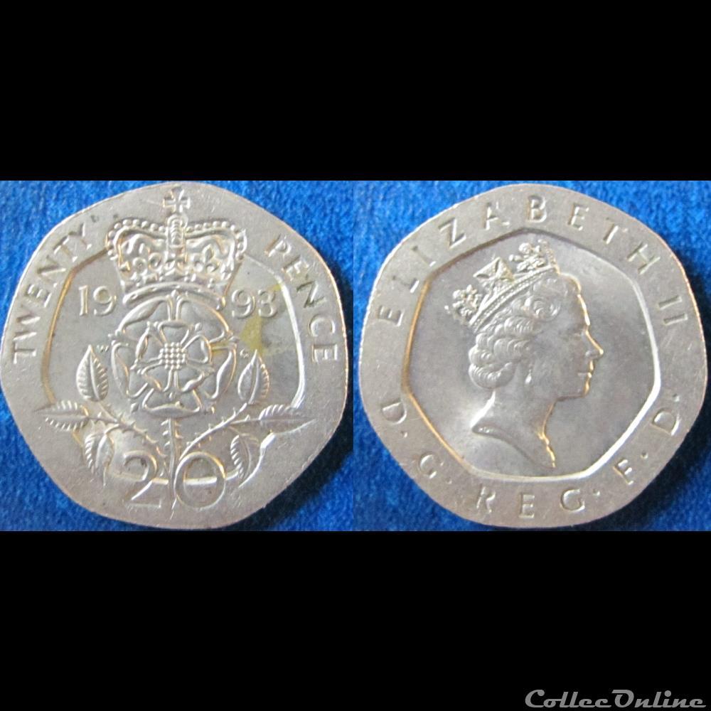 20 Pence Elizabeth Ii 3ème Effigie 1993 Münzen Münzen Aus Aller