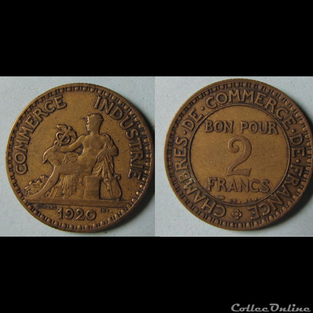 2 francs chambres de commerce de france 1920 monnaies france - Chambre de commerce espagnole en france ...
