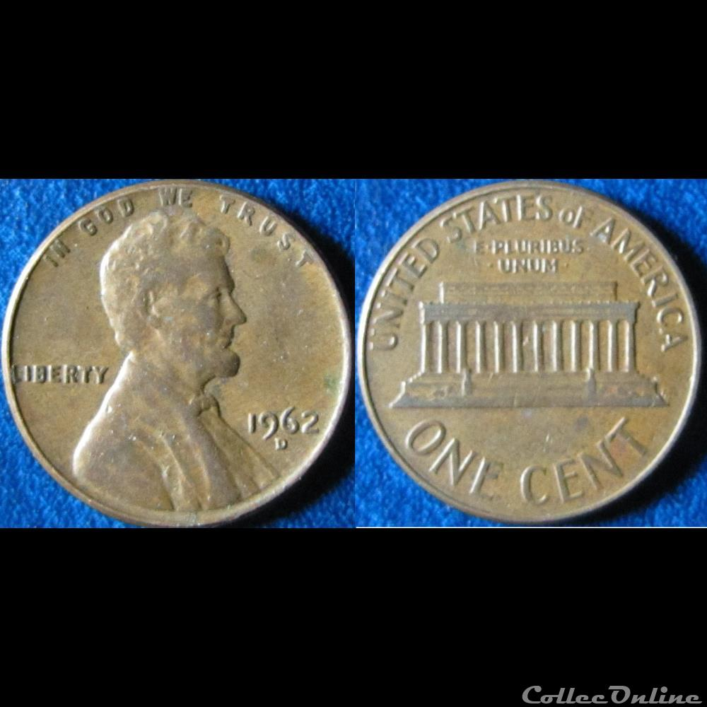 1 cent Lincoln Memorial Penny 1962 D : Coins, World coins