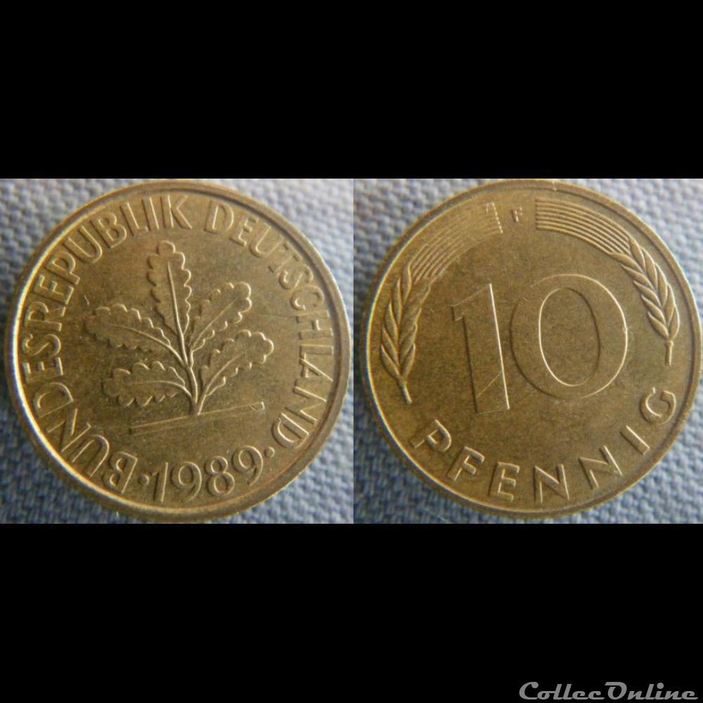 monnaie monde allemagne 10 pfennig 1989 f