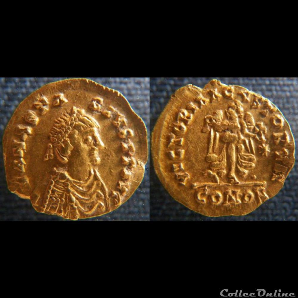monnaie antique byzantine anastase tremissis imitation wisigothique
