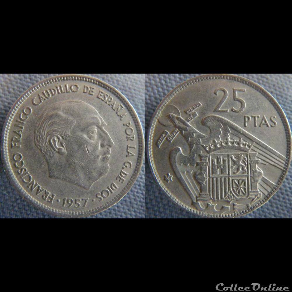 monnaie monde espagne 25 pesetas 1957 68