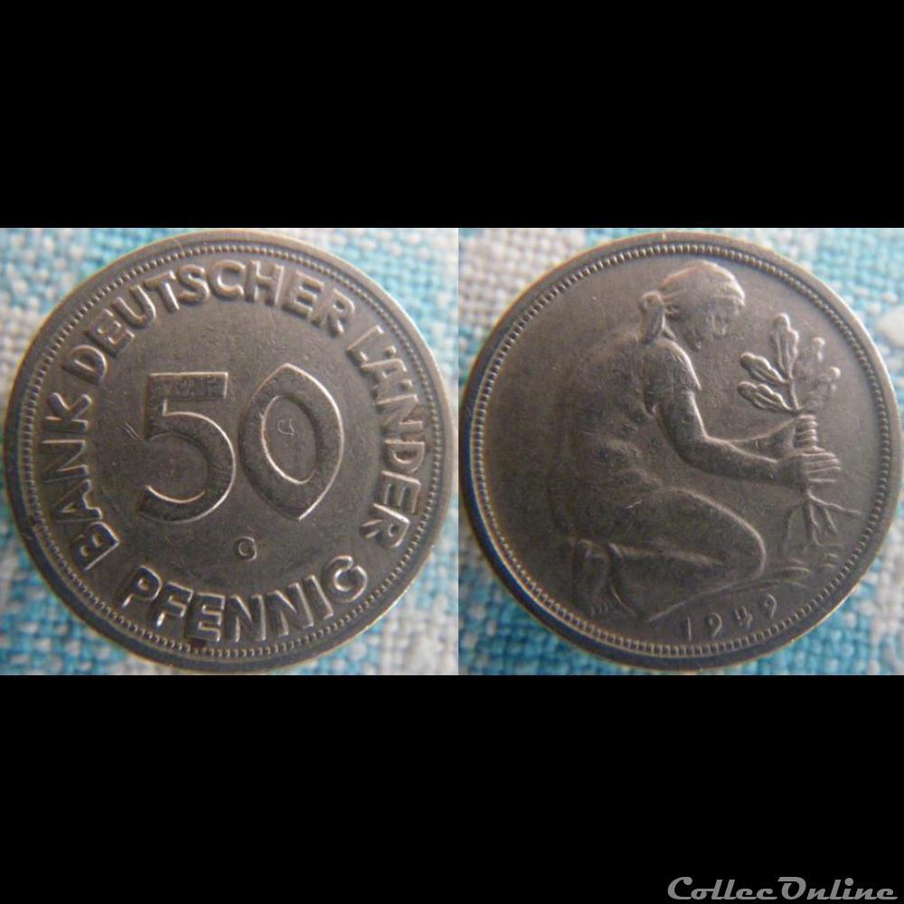 monnaie monde allemagne 50 pfennig 1949 g