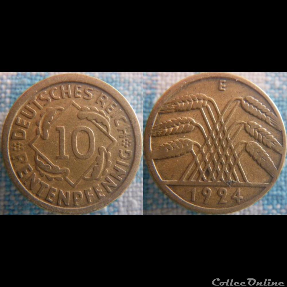 monnaie monde allemagne 10 rentenpfennig 1924 e