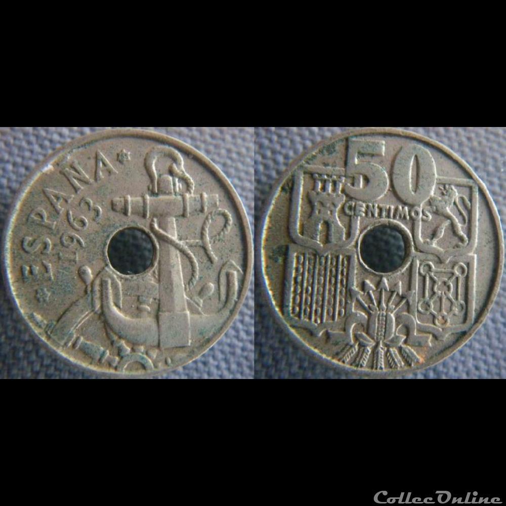 monnaie monde espagne 50 centimos 1963 65