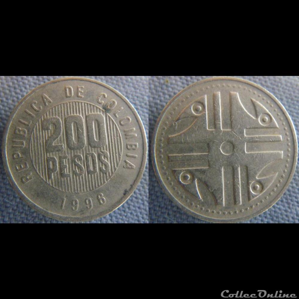 monnaie monde colombie 200 pesos 1996