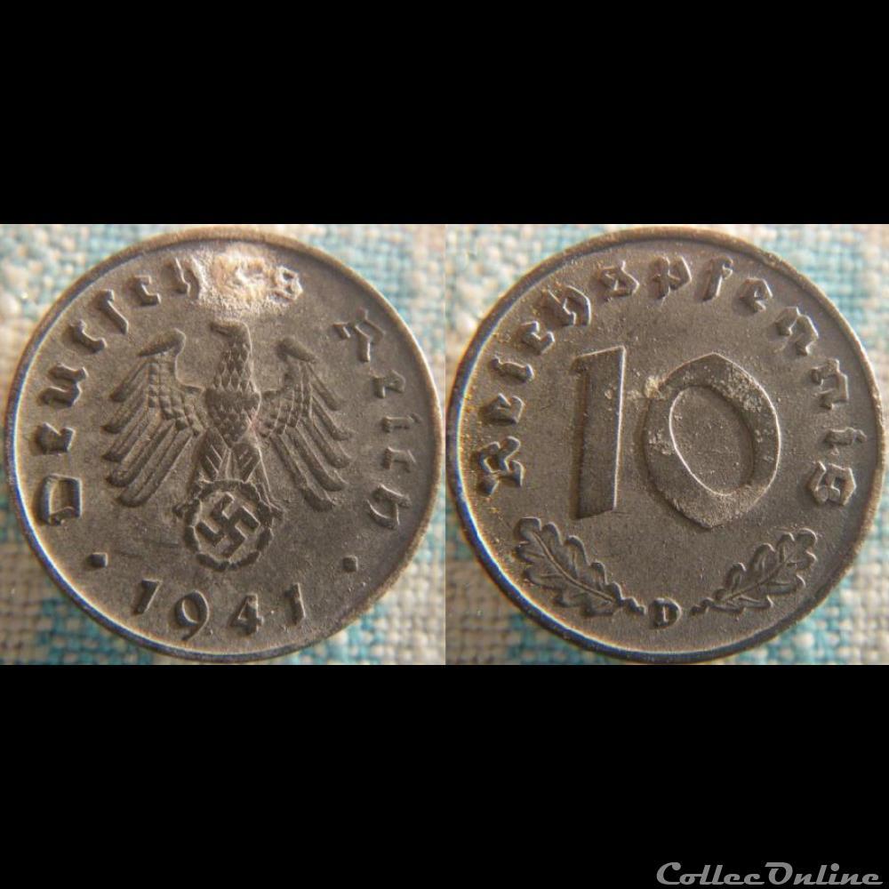 monnaie monde allemagne 10 reichspfennig 1941 d