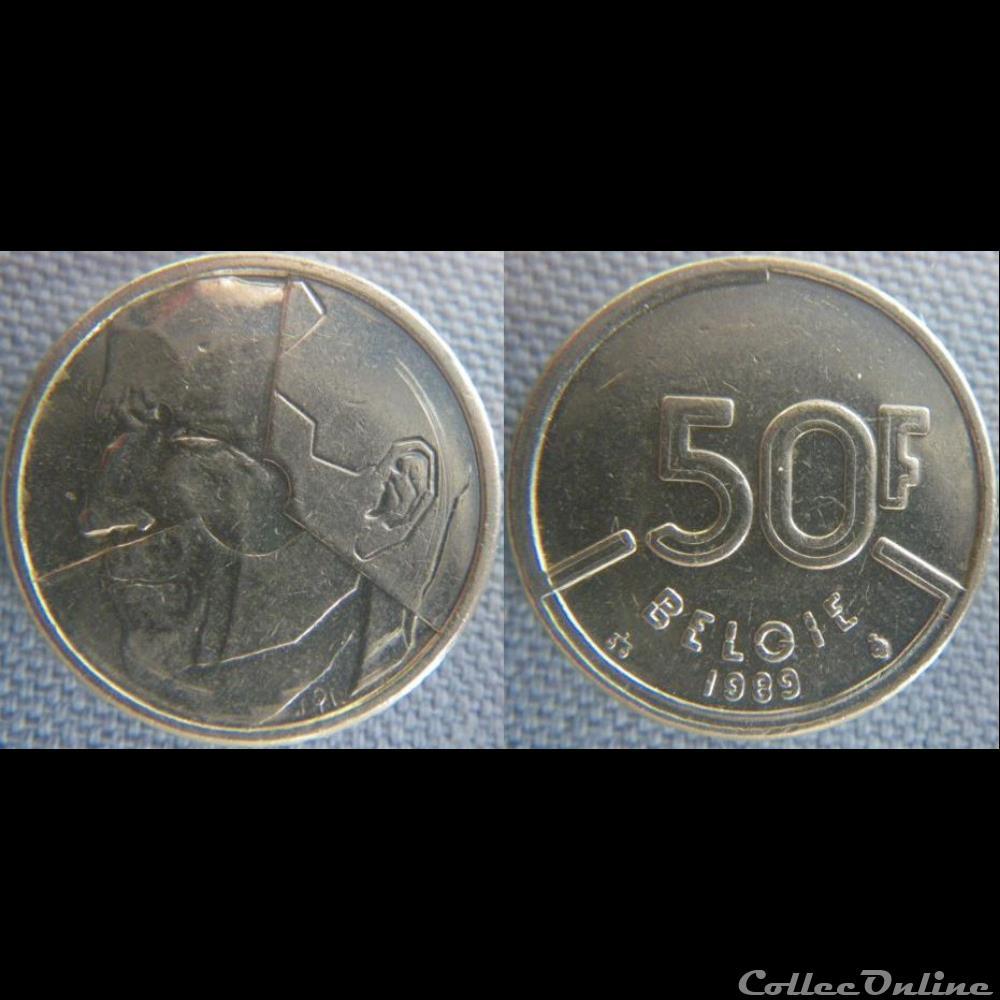 monnaie monde belgique 50 francs 1989 fl