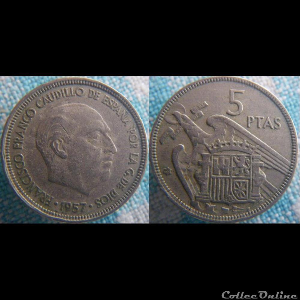 monnaie monde espagne 5 pesetas 1957 65
