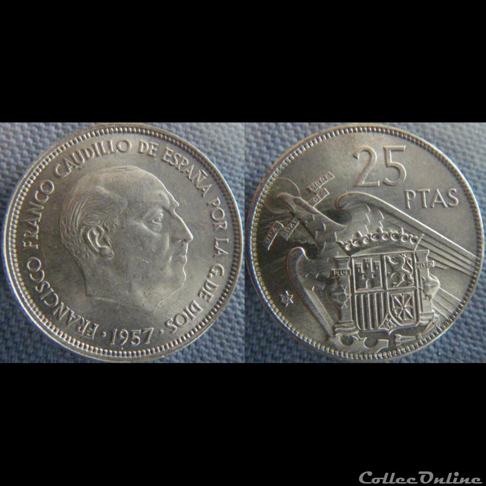 monnaie monde espagne 25 pesetas 1957 67