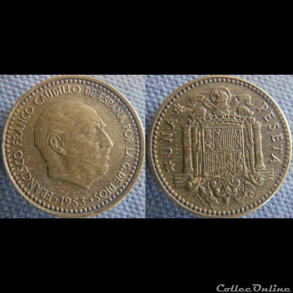 monnaie monde espagne 1 peseta 1953 62