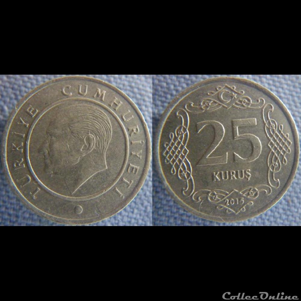 monnaie monde turquie 25 kurus 2015