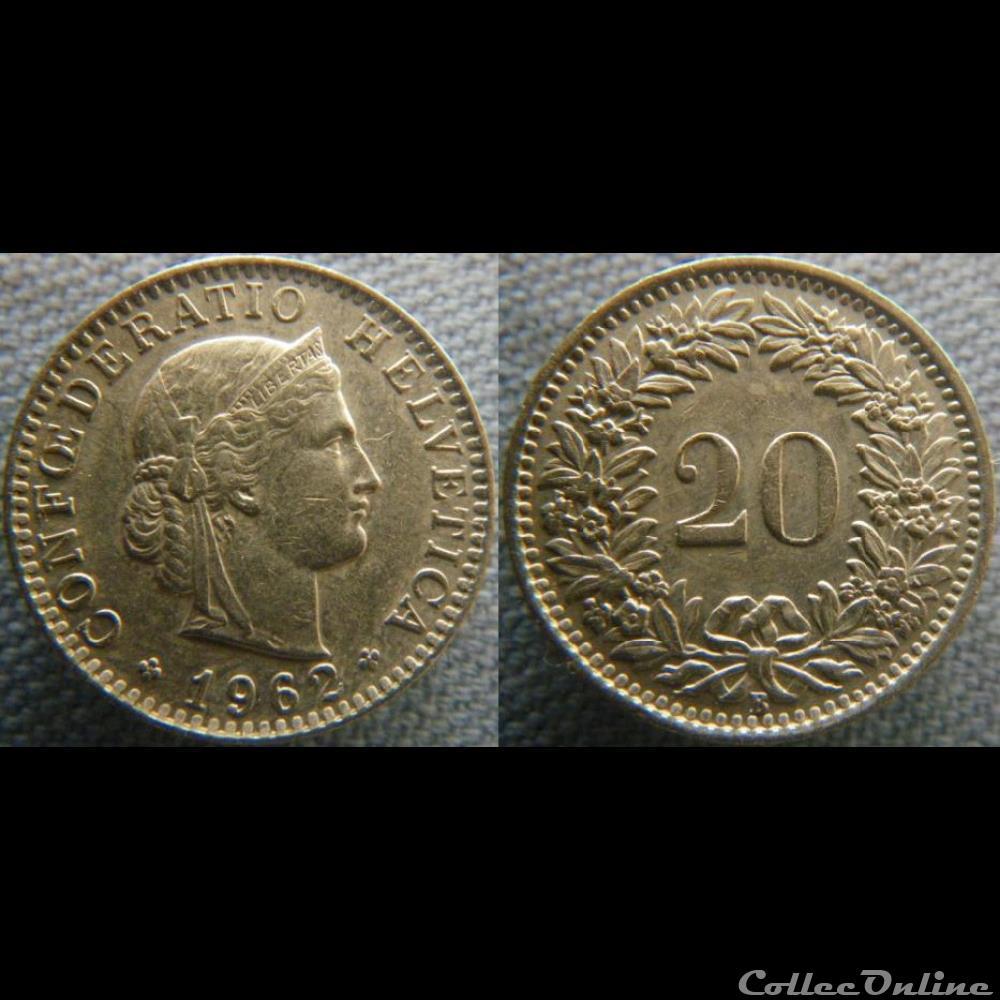 monnaie monde suisse 20 rappen 1962 b