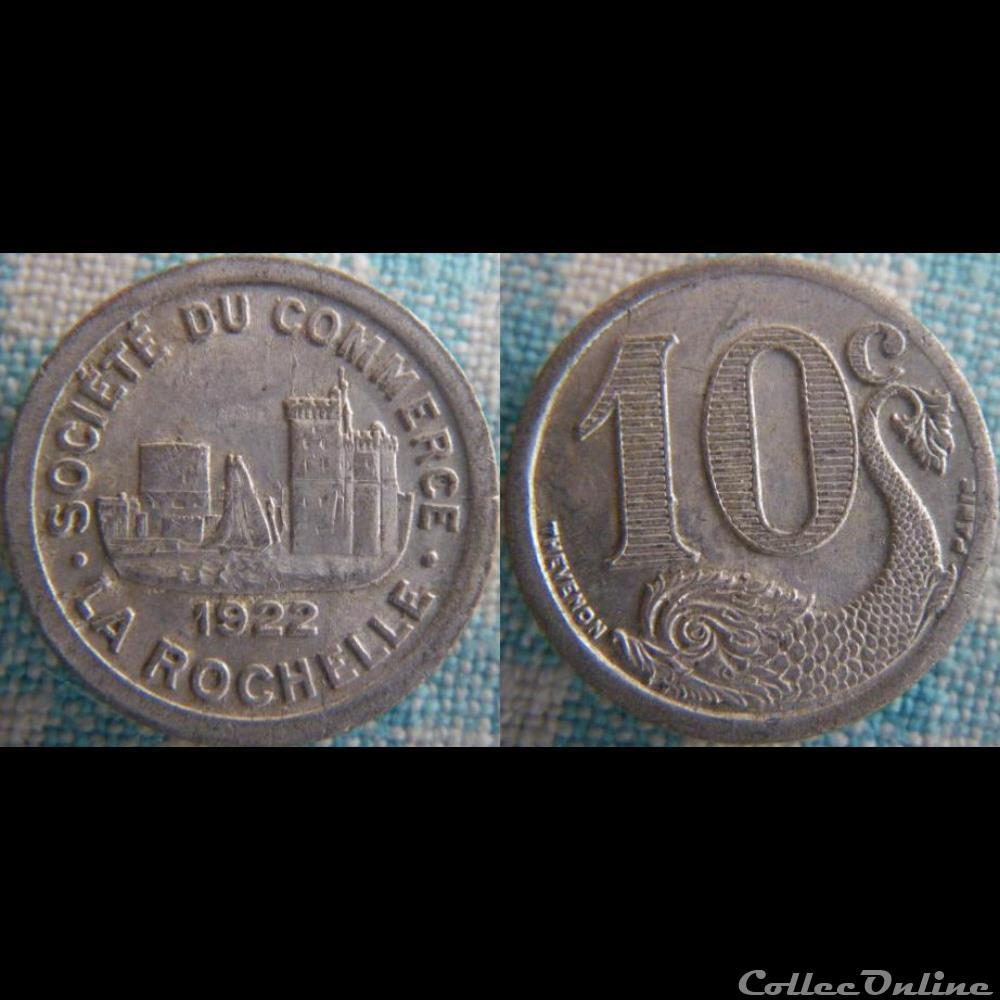 monnaie france moderne 10 centimes 1922 societe du commerce la rochelle