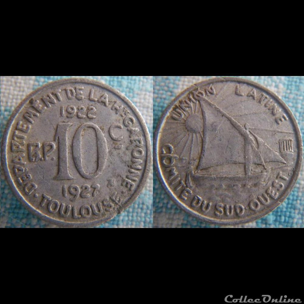 monnaie france moderne 10 centimes 1922 haute garonne