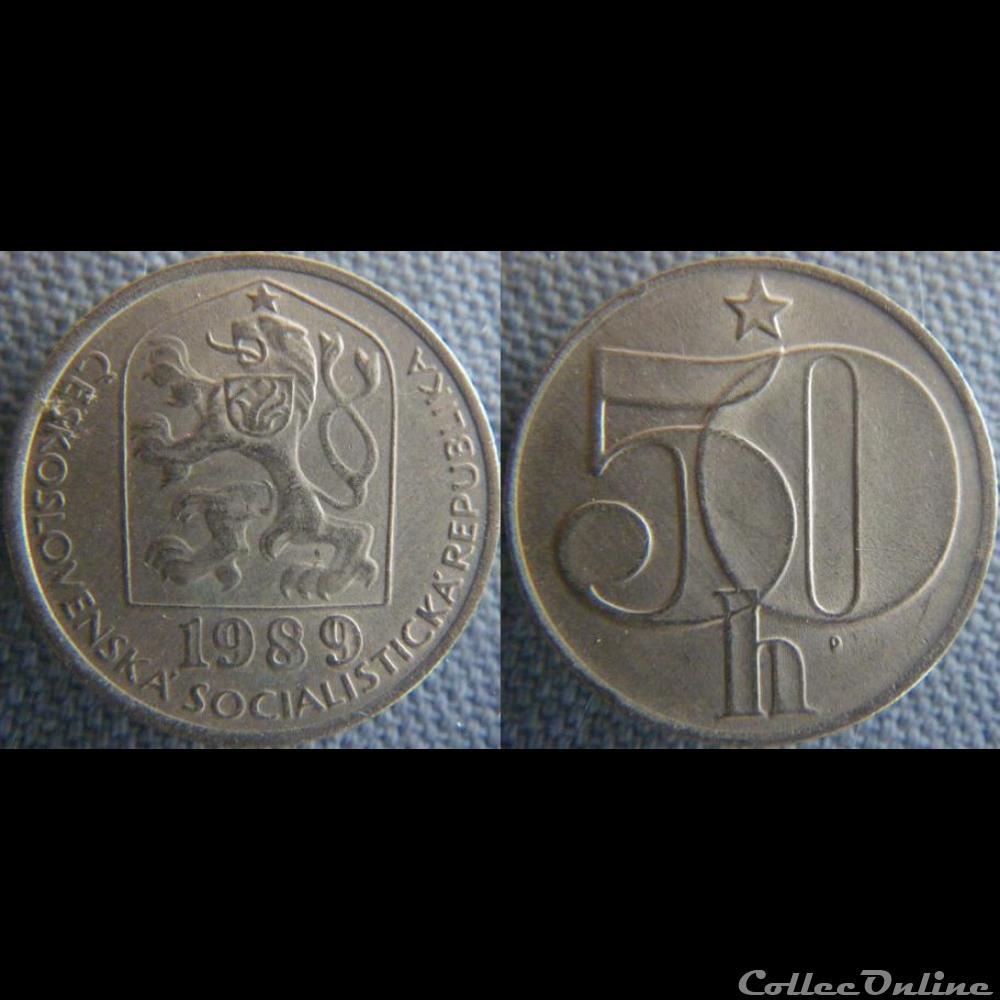 monnaie monde republique tcheque 50 haleru 1989