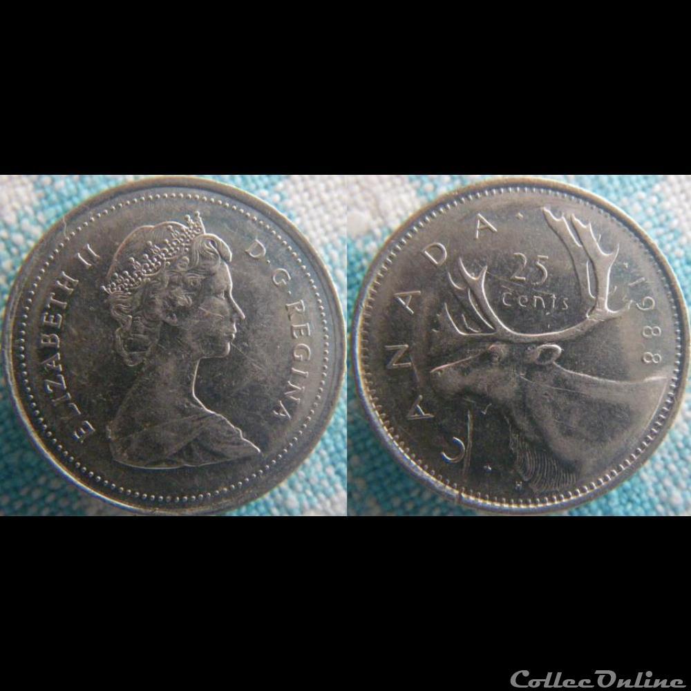 monnaie monde canadum 25 cents 1988