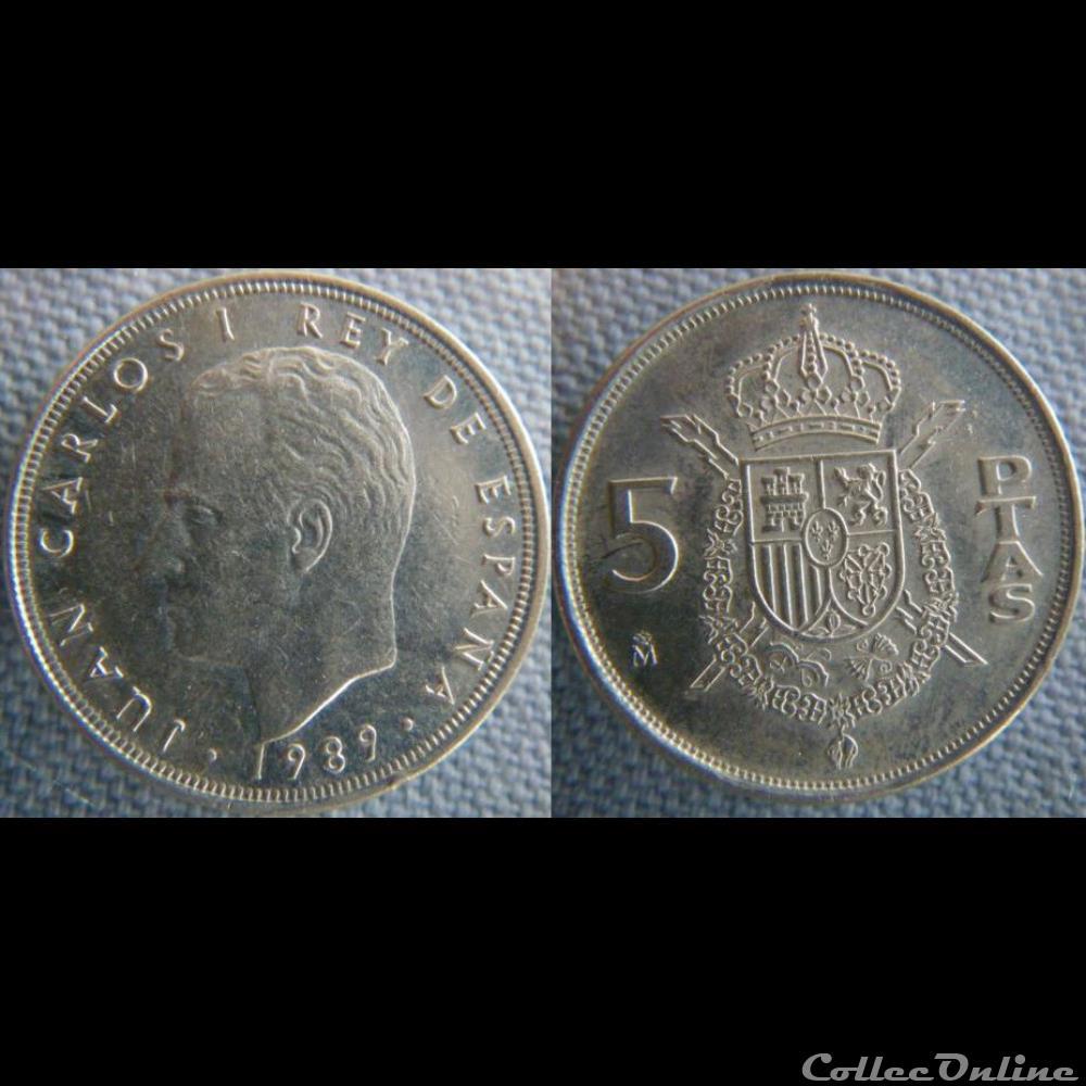 monnaie monde espagne 5 pesetas 1989