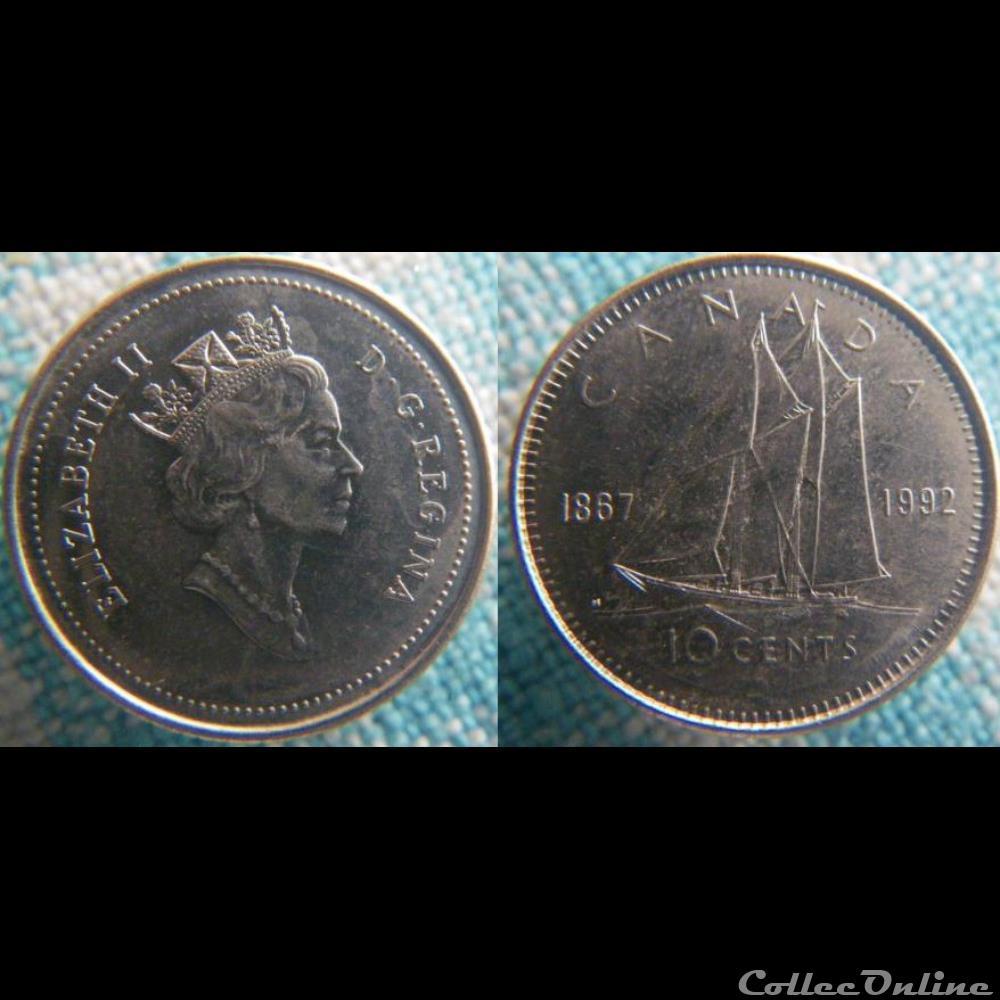 monnaie monde canadum 10 cents 1992