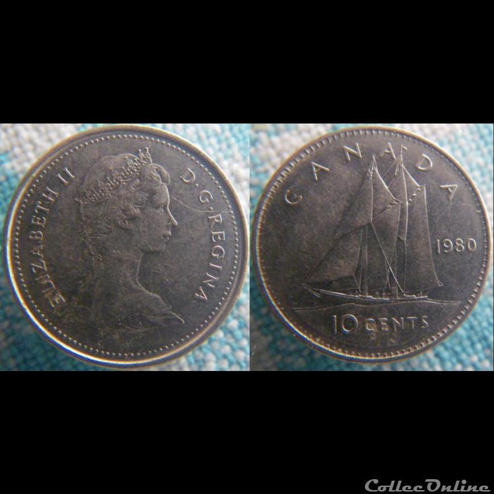 monnaie monde canadum 10 cents 1980