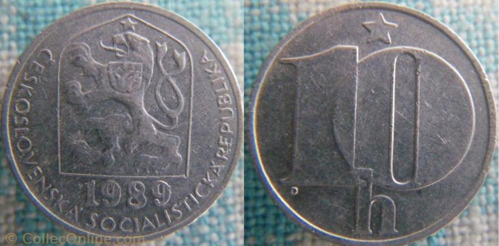 monnaie monde republique tcheque 10 haleru 1989
