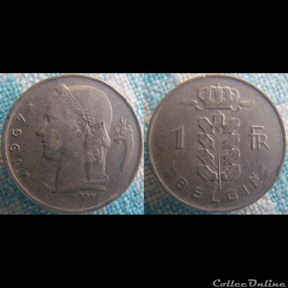 monnaie monde belgique 1 franc 1967 fl