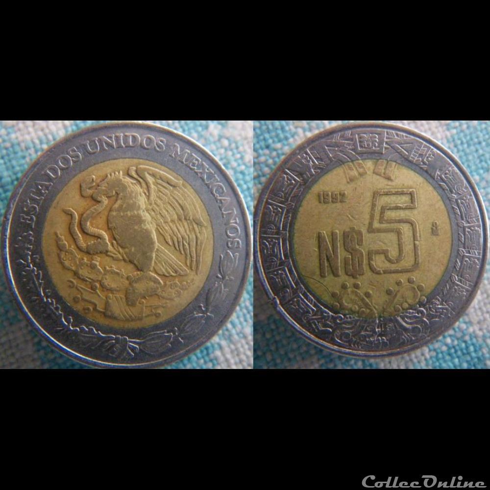 monnaie monde mexique 5 nuevos pesos 1992
