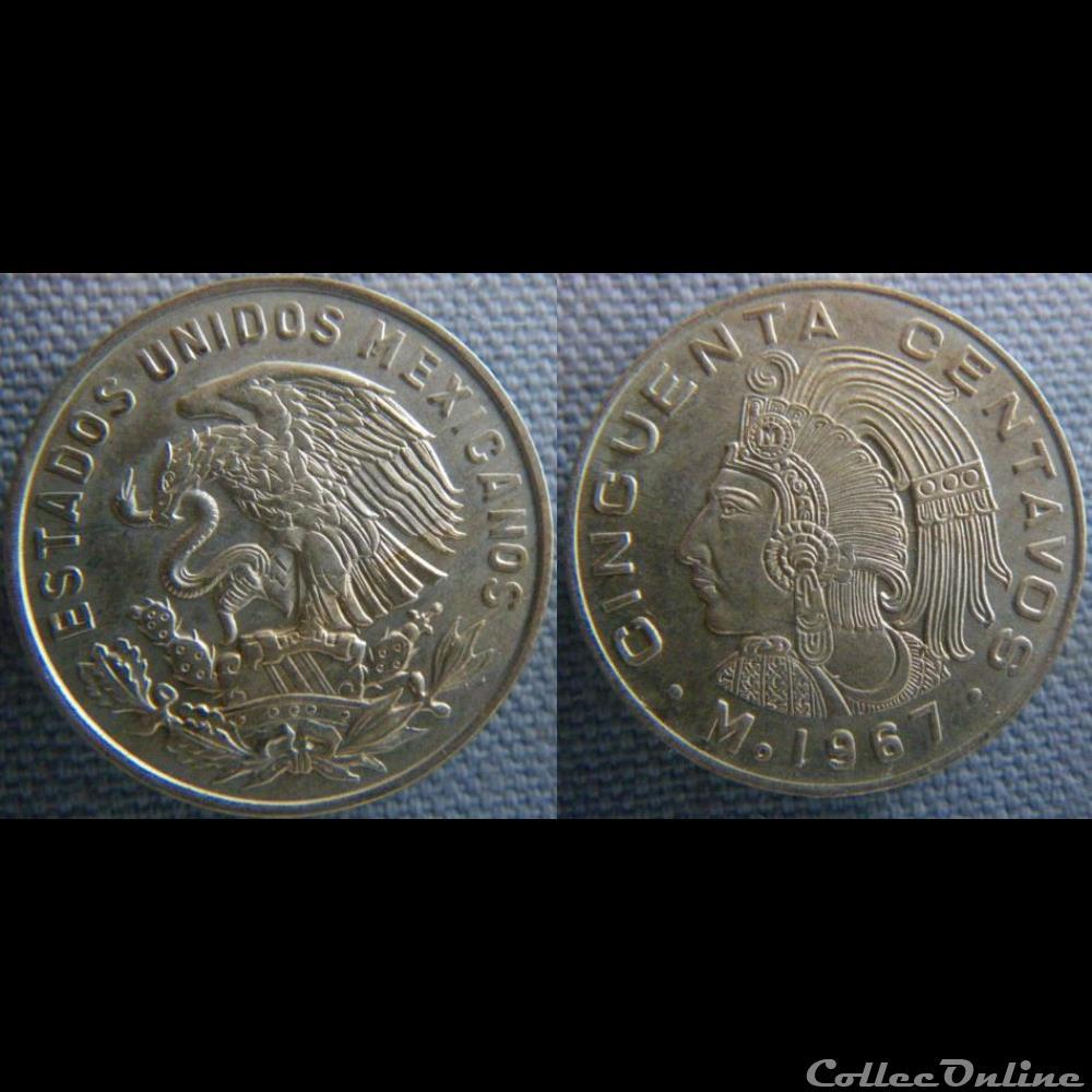 monnaie monde mexique 50 centavos 1967