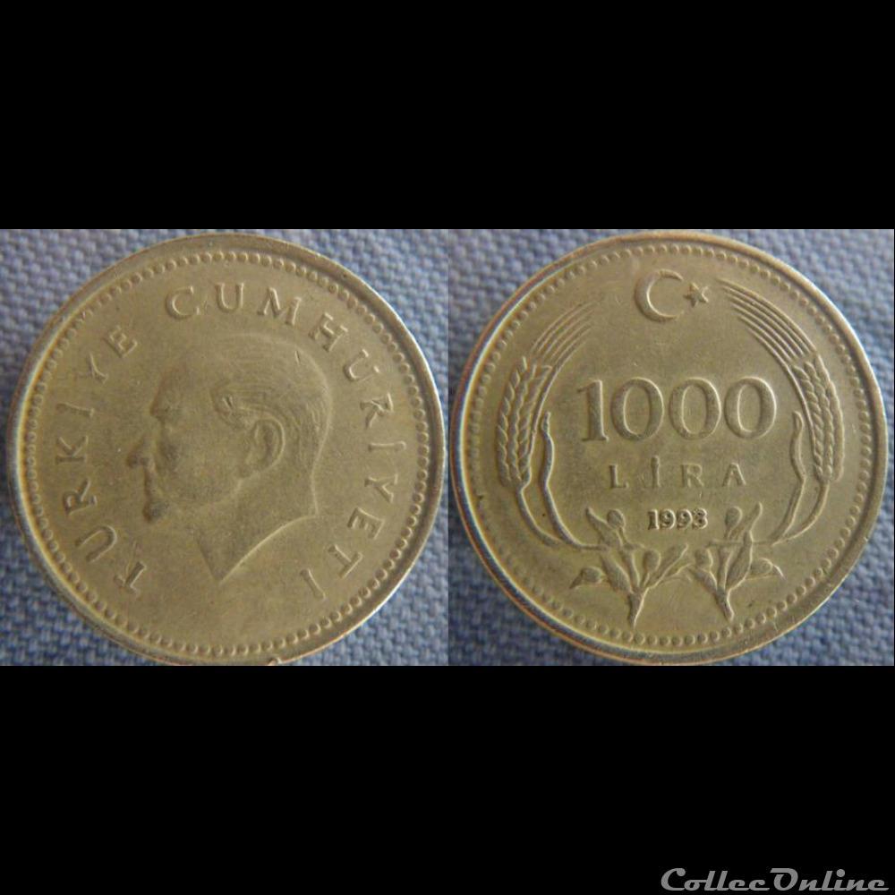 monnaie monde turquie 1 000 livre 1993