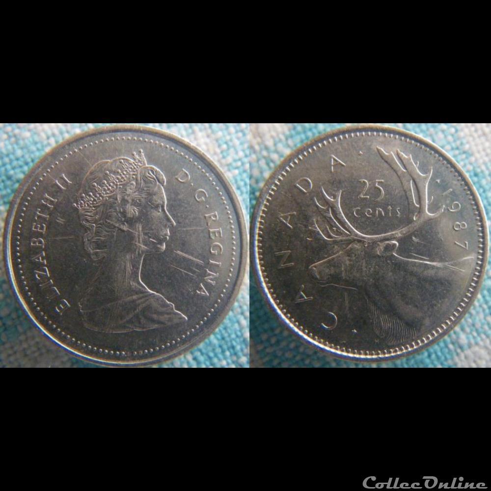 monnaie monde canadum 25 cents 1987