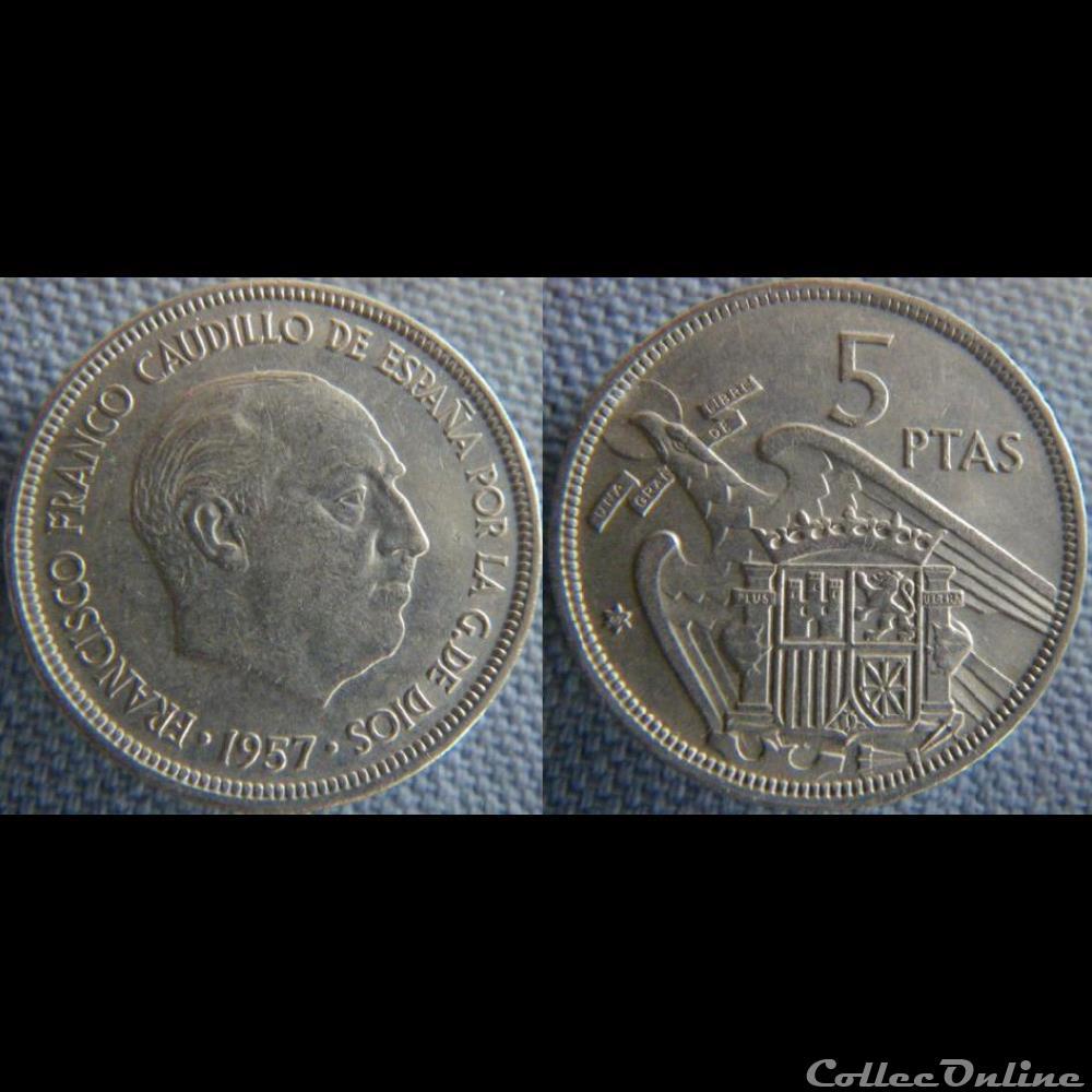 monnaie monde espagne 5 pesetas 1957 69