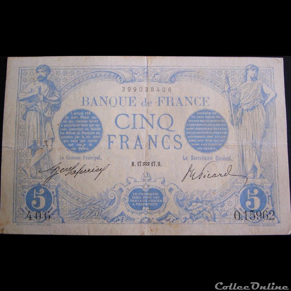 billet france banque de xxe 17 01 1917 o 15962 406
