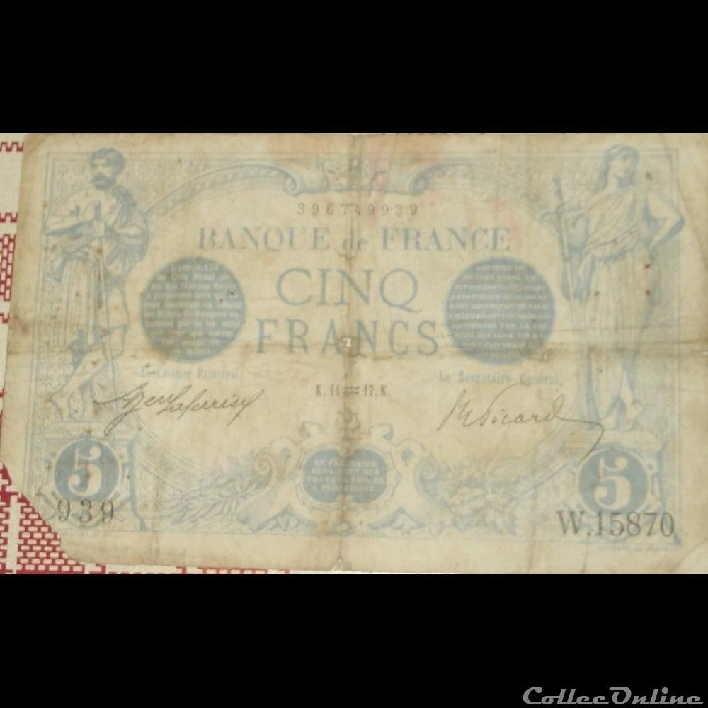 billet france banque de xxe 11 01 1917 w 15870 939