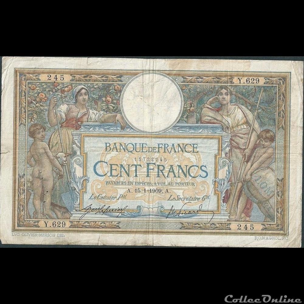 billet france banque de xxe 15 01 1909 y 629 245