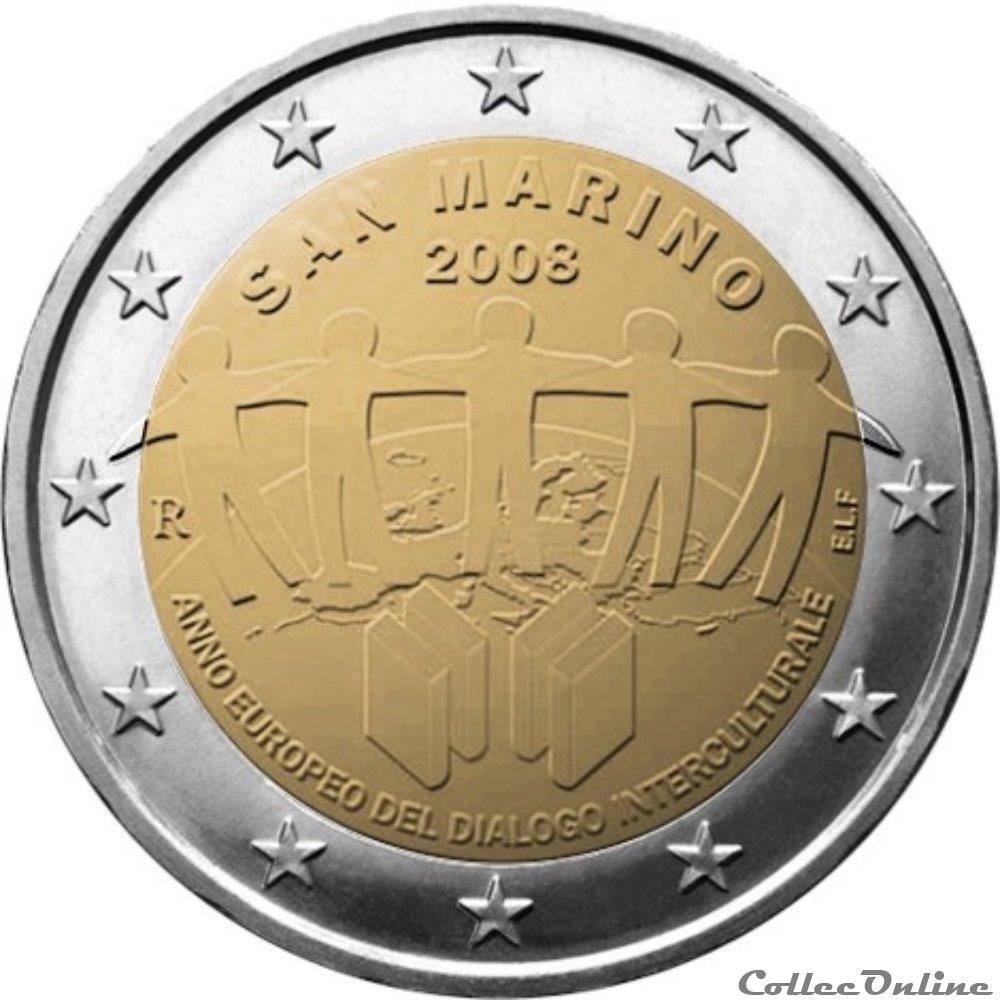 monnaie 2 euro saint marin 2008