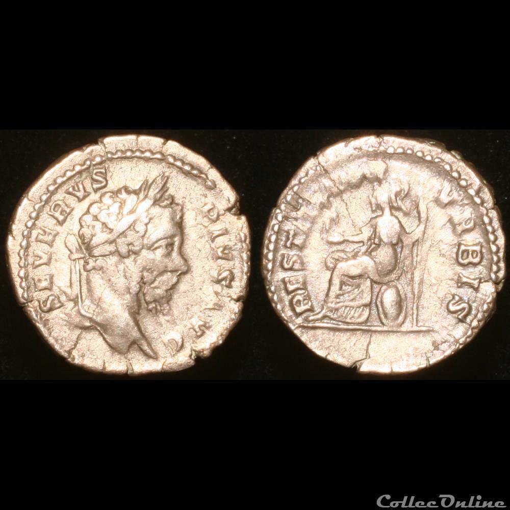monnaie antique romaine septime severe denier 207 rome 1er officine type 1