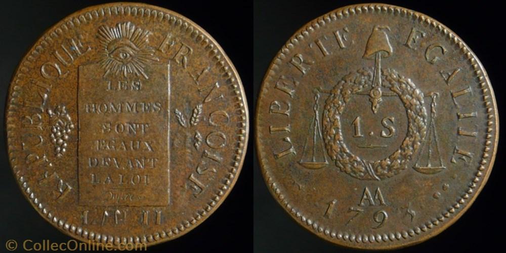 monnaie france moderne convention sol aux balances 1793 aa